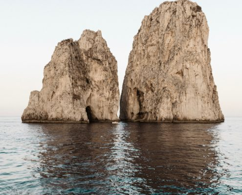 Huge rocks and the Mediterranean Sea in Capri, Italy