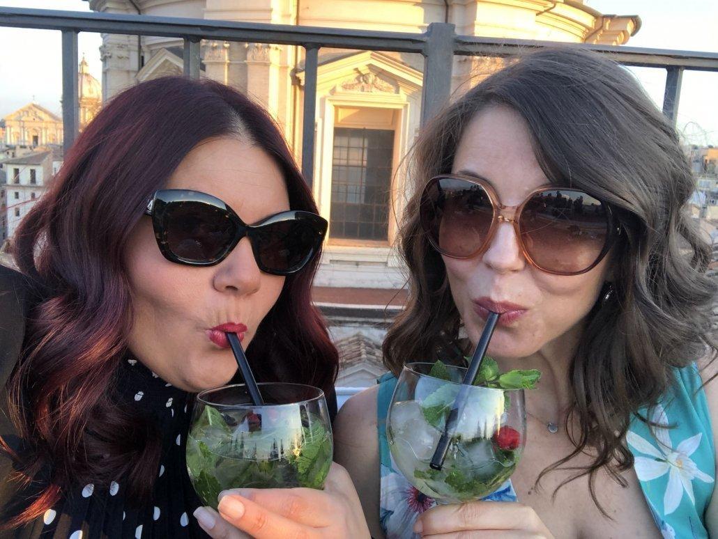 Hotel Borromini Terrazza sipping drinks